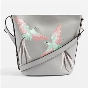 TOPSHOP Rebecca bird embroidered shoulder bag